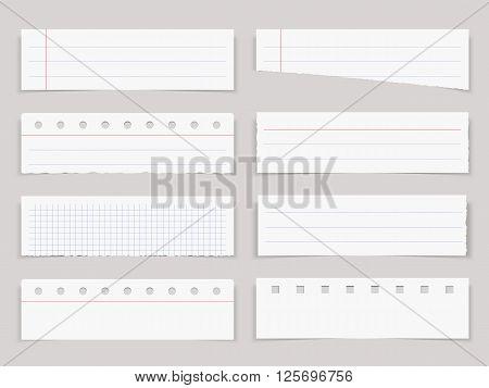 Blank horizontal paper sheets, notebook paper, vector eps10 illustration