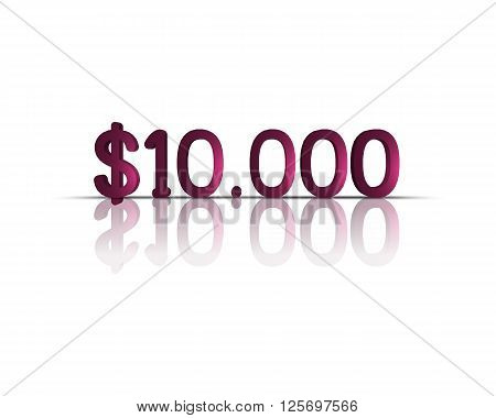 10.000 $ 3d word with reflection !