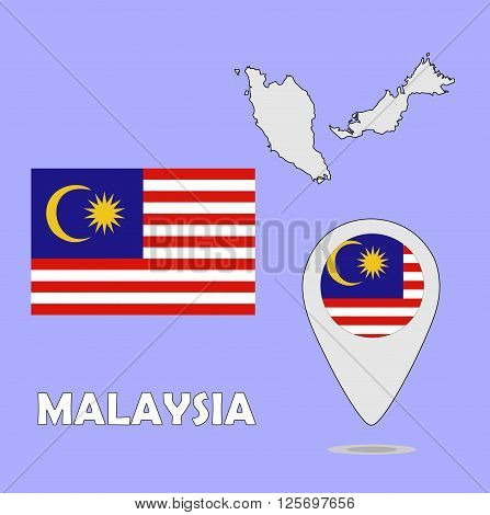 A pointer map and flag of Malaysia