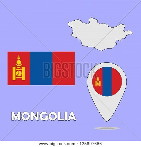 A pointer map and flag of Mongolia
