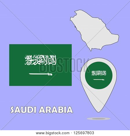A pointer map and flag of Saudi Arabia