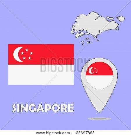 A pointer map and flag of Singapore