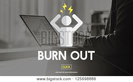 Burn Out Depressed Employee Exhausted Tired Concept