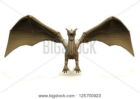 3d computer rendering illustration on low Polygone Object Dragon front