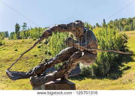 Vail, USA - September 10, 2015: Sculpture of ski racer