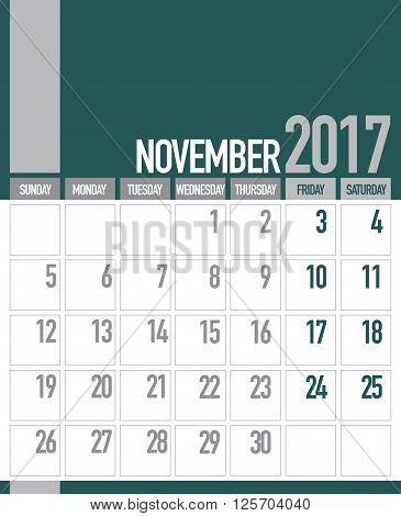 Classic Stylish November 2017 Business Planner Calendar