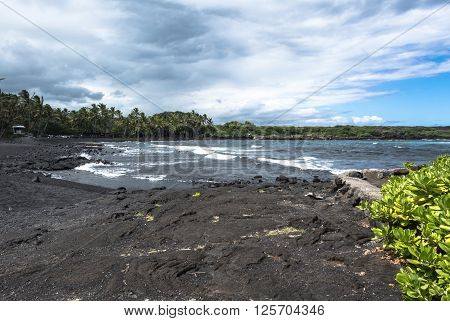 View of Punaluu Black Sand Beach in Big Island, Hawaii