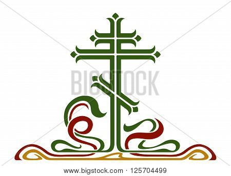 Ornamental orthodox cross, crucifix. Colored vector image.