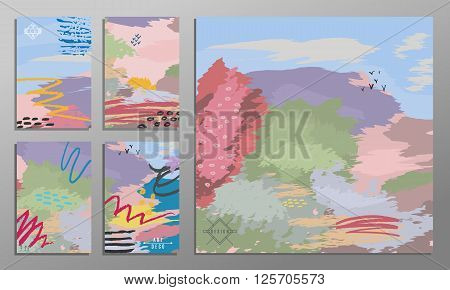 Vector illustration set of artistic colorful universal cards. Brush textures. Wedding anniversary birthday holiday party. Design for poster card invitation. Painting in the impressionism style