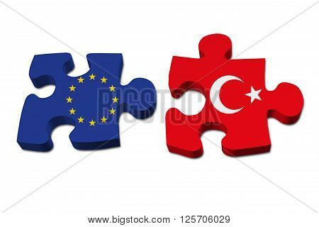Relationship between the European Union and Turkey Two pieces of a puzzle with the European Union flag on one and the Turkey flag on the other isolated over white
