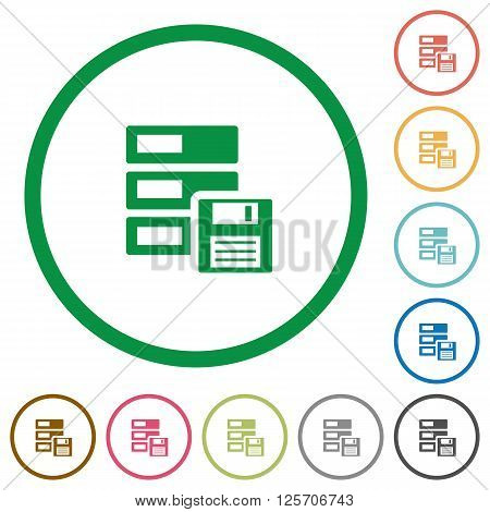Set of backup color round outlined flat icons on white background