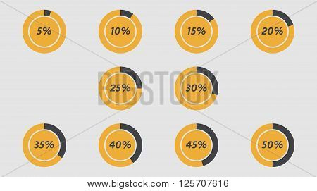 Infographics vector: 5% 10% 15% 20% 25% 30% 35% 40% 45% 50% grey orange pie charts