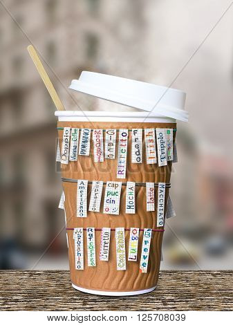 Disposable coffee Cup with cards with kinds of coffee