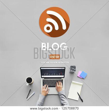Blog Bloging Blogger Internet Connection Concept