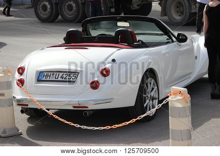 Monte-Carlo Monaco - April 6 2016: White Mitsuoka Roadster (rear view) Parked in Front of the Monte-Carlo Casino in Monaco