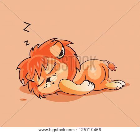 Vector Stock Illustration isolated Emoji character cartoon Lion cub sleeps on the stomach sticker emoticon for site, infographics, video, animation, websites, e-mails, newsletters, reports, comics
