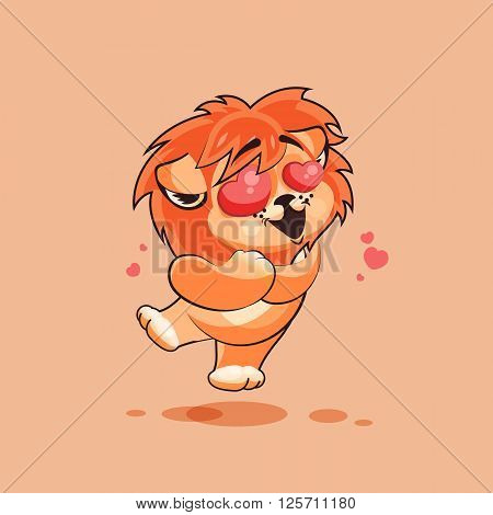 Vector Stock Illustration isolated Emoji character cartoon Lion cub in love flying with hearts sticker emoticon for site, infographics, video, animation, websites, e-mails, newsletters, report, comic