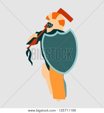Vector illustration of ice hockey goalie with knight shield. Sport metaphor. Sportsman as ancient warrior