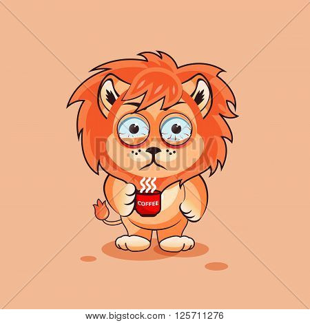 Vector Stock Illustration isolated Emoji character cartoon Lion cub nervous with cup of coffee sticker emoticon for site, infographics, video, animation, websites, e-mails, newsletters, report, comic