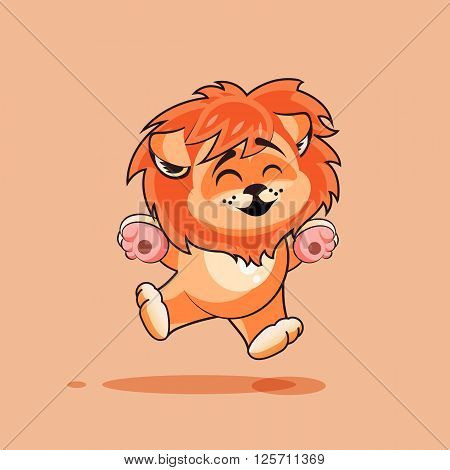 Vector Stock Illustration isolated Emoji character cartoon Lion cub jumping for joy, happy sticker emoticon for site, infographics, video, animation, websites, e-mails, newsletters, reports, comics