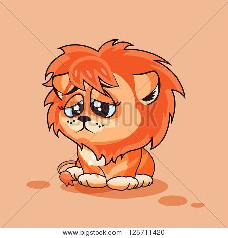 Vector Stock Illustration isolated Emoji character cartoon Lion cub sad and frustrated sticker emoticon for site, infographics, video, animation, websites, e-mails, newsletters, reports, comics