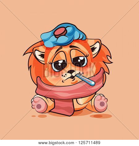Vector Stock Illustration isolated Emoji character cartoon Lion cub sick with thermometer in mouth sticker emoticon for site, infographic, video, animation, website, e-mail, newsletter, report, comic