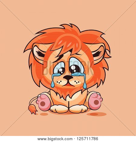 Vector Stock Illustration isolated Emoji character cartoon sad, frustrated Lion cub crying, tears sticker emoticon for site, infographic, video, animation, website, e-mail, newsletter, report, comic