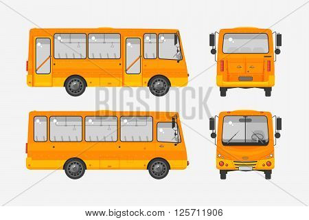 Set stock vector illustration isolated bus front, side, back view flat style white background Element for site, infographic, video, animation, website, e-mail, newsletter, reports, comic, icon