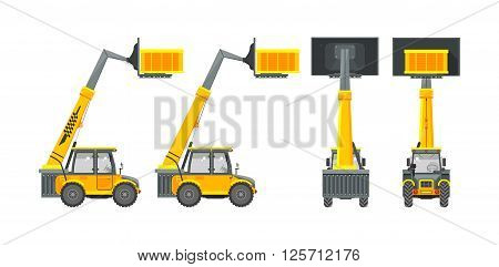 Set stock vector illustration isolated loader front, side, back view in flat style white background Element for site, infographics, video, animation, websites, e-mails, newsletters, reports, comic