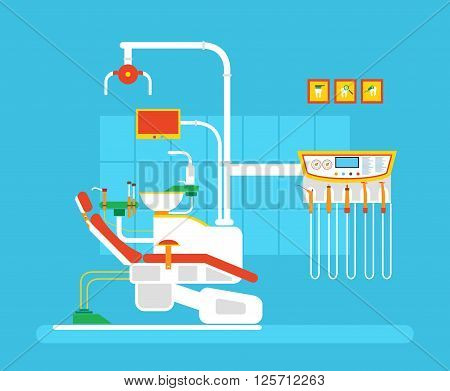 Stock vector illustration set of dental office with dental chair in flat style element for infographic, website, icon, games, motion design, video