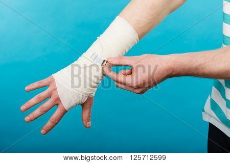 Male Hand In Bandage.
