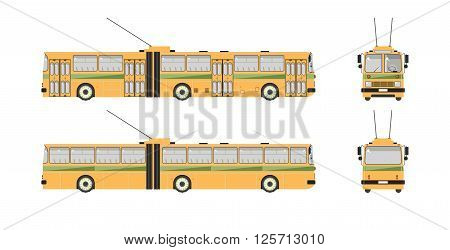 Set stock vector illustration isolated trolleybus front, side, back view flat style white background Element for site, infographic, video, animation, website, e-mail, newsletter, reports, comic, icon