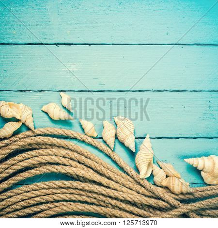 Concept Of The Summer Time With Sea Shells On The Wooden Blue Background