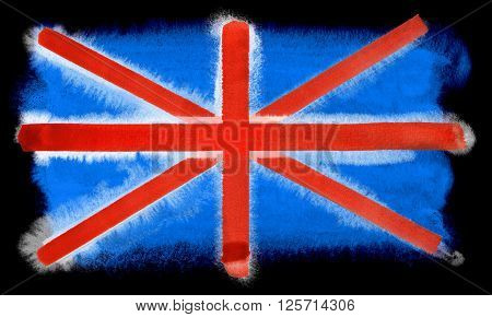 a watercolor illustration of the Great Britain flag