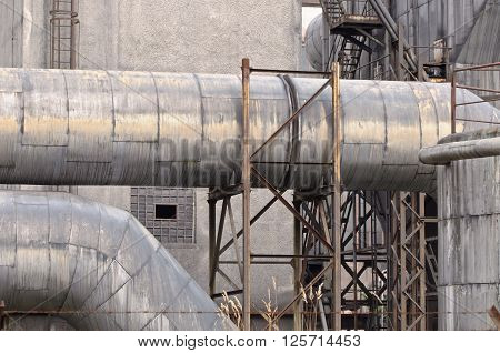Detail of pipelines in old abandoned heating plant