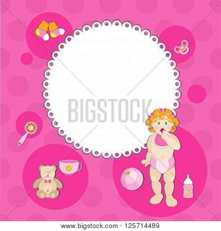 Baby shower card. Its a girl vektor illustration