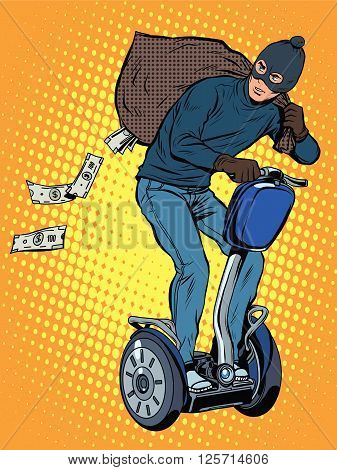 Tech stealing money pop art retro style. The thief leaves the bag of money in the electric chair.Cyber fraud. Crime
