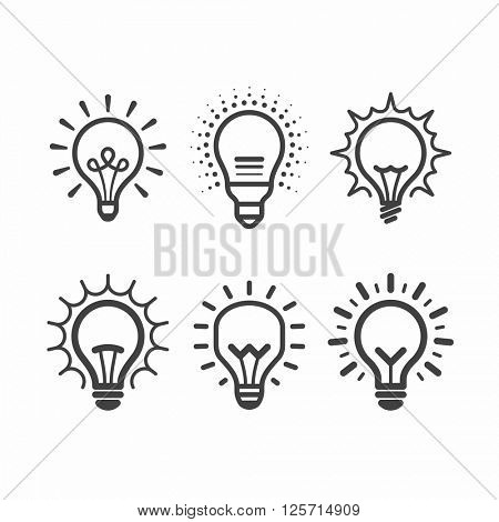 Lit light bulb icons set. Vector illustration.
