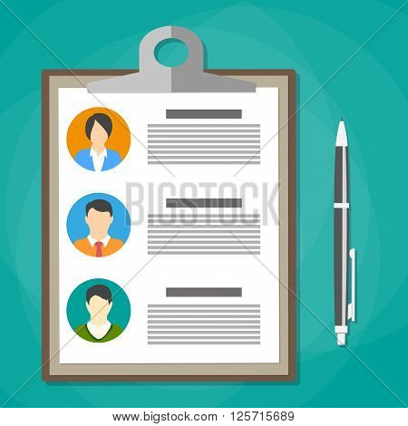 Human resources management concept, searching professional staff, analyzing resume papers, work. clipboard with resume papers and pen. vector illustration in flat design on green background