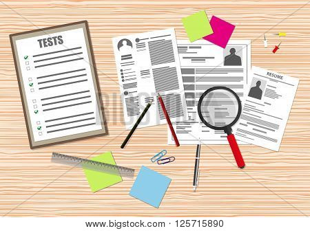 Human resources management concept, searching professional staff, work, analyzing resume papers, office wooden desk with documents papers, magnifying glass, sticky notes, pen. vector illustration in flat design on brown background