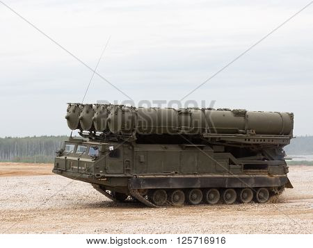 Moscow Region - June 19 2015: Anti-aircraft missile system S-300 Favorit bystoro going on demonstrations for Kubinka polegone June 19 2015 Moscow Region Russia