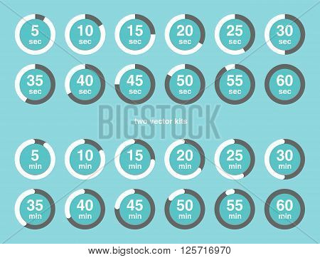 Collection Of Vector Icons With Watch Counts.