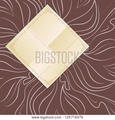 Decorative frame on dark background, napkin design.