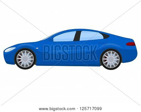 Blue sports sedan, vector illustration isolated on white