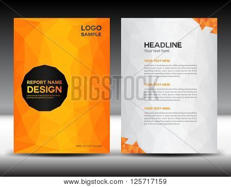 Orange Cover Annual report design vector illustration