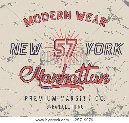Vintage label with New York City design .Grunge effect.Typography design for t-shirts