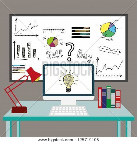Design stylish vector illustration of modern financial organization or business working in the office