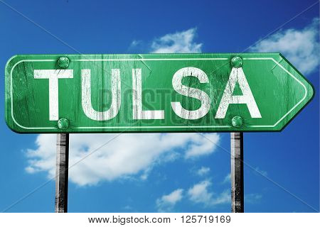 tulsa road sign on a blue sky background