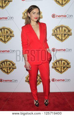 LAS VEGAS - APR 12: Emilia Clarke at the Warner Bros. Pictures Presentation during CinemaCon at Caesars Palace on April 12, 2016 in Las Vegas, Nevada