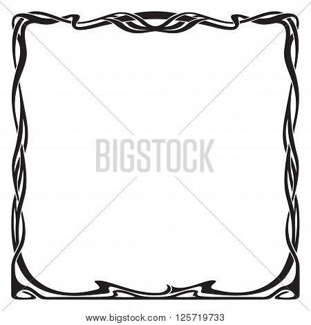 Decorative black square frame in art-nouveau style.
